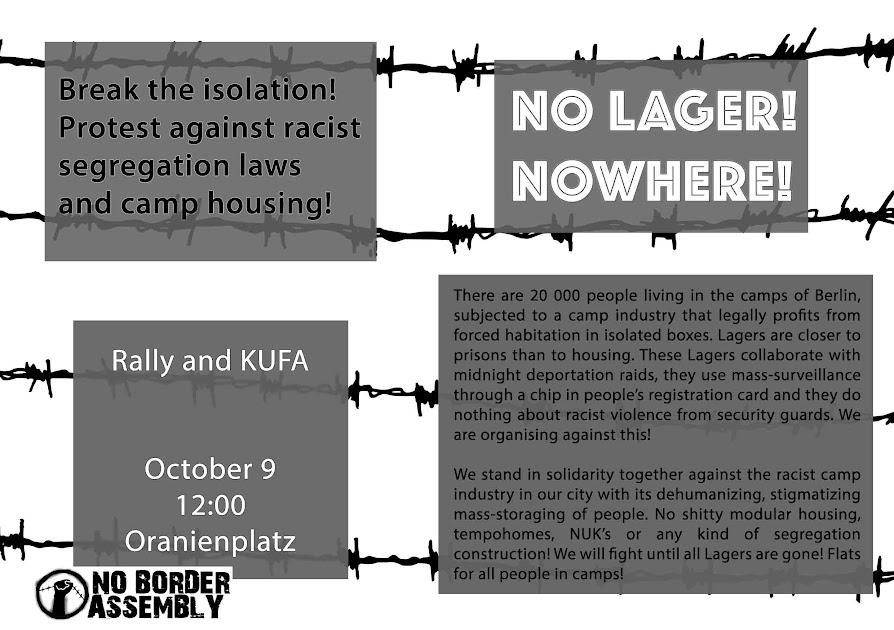 KEINE LAGER! NIRGENDWO! Kundgebung und Küfa am 9.Oktober